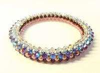 Crystal and Pearl Bangle Jewellery Making Kit with SWAROVSKI® ELEMENTS beads Light Amethyst x2 tones